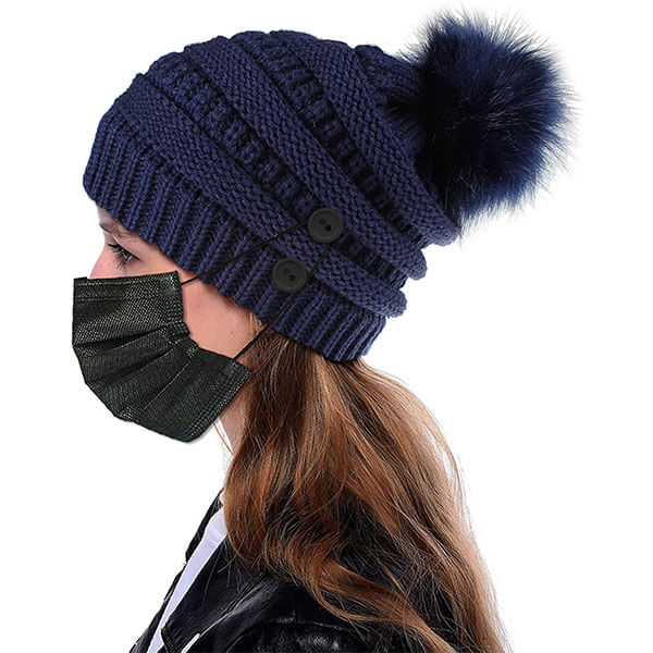 Warm Pompom Winter Beanies With Buttons