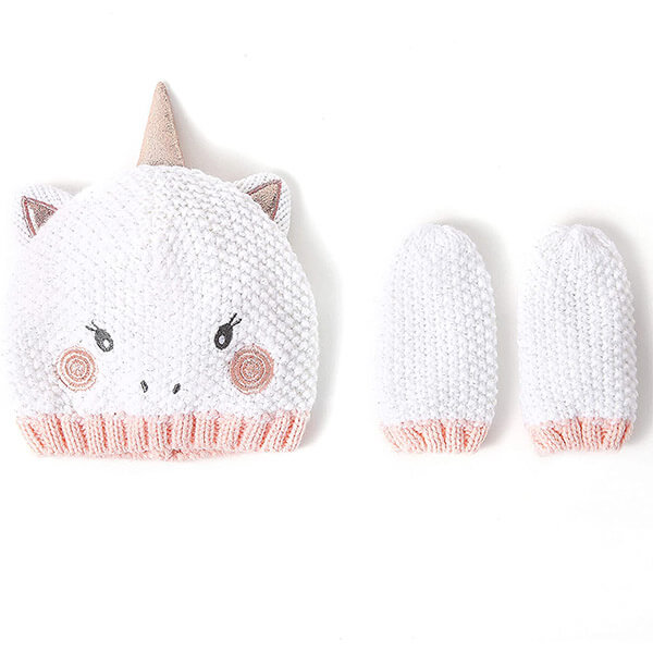 Winter Knitted Unicorn Beanie Hat With Mittens For Newborn