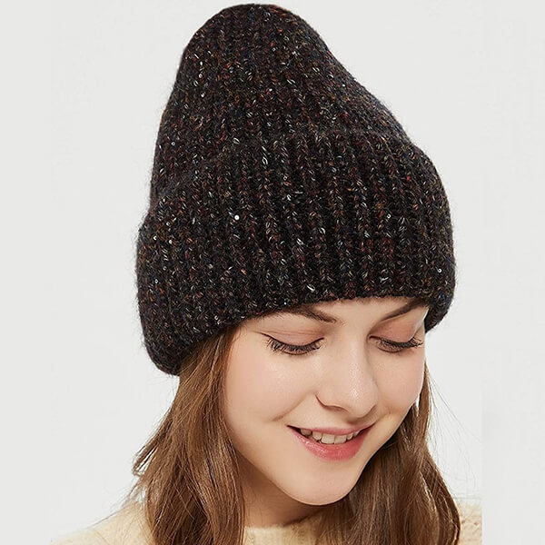 Knitted Acrylic And Wool Beanie With Sequins