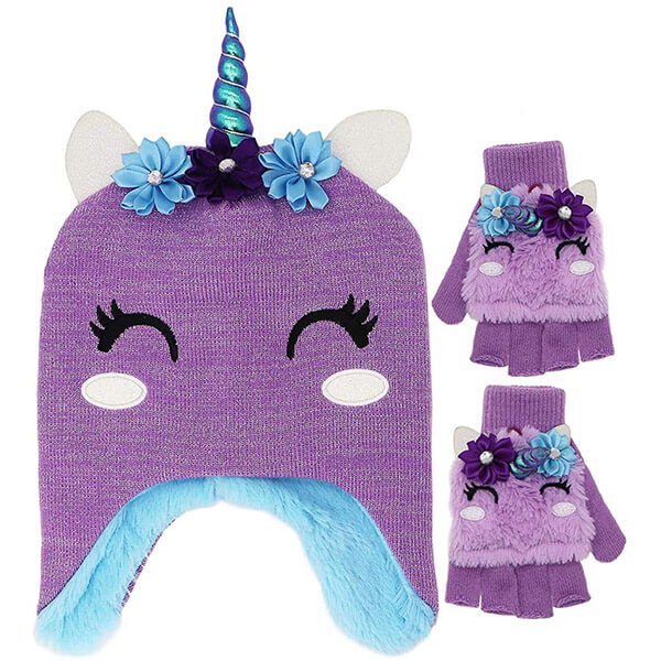 Unicorn Beanie Hat and Gloves Set For Kids With Earflaps