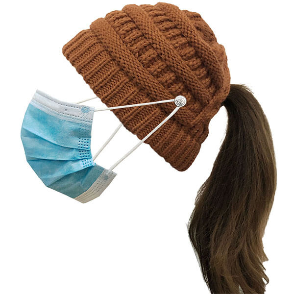 Warm Winter Knitted Beanie Hat With Button For Mask