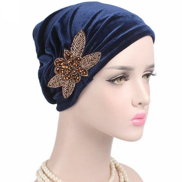 Women's Velvet Turban Style Chemo Wrap Beanie