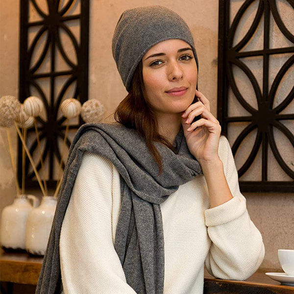 100% Pure Cashmere Slouchy Beanie