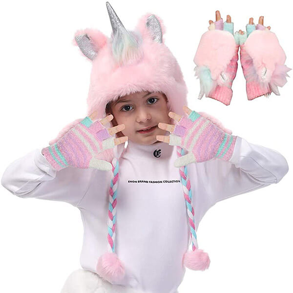 Faux Fur Hoodie Style Unicorn Beanie With Gloves