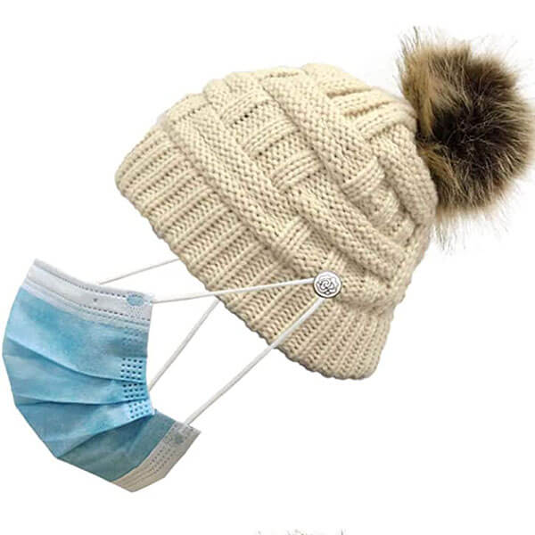 Warm Knitted Wool Beanie With Ponytail Hole And Face Mask Holding Buttons