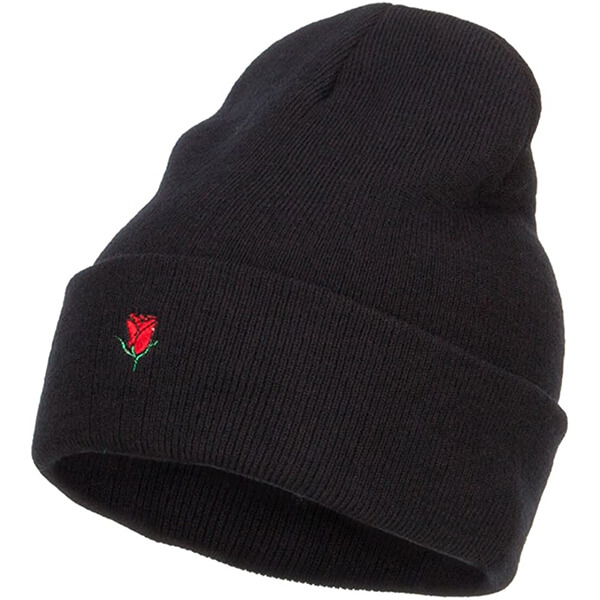Warm Mini Rose Embroidered Tall Beanie