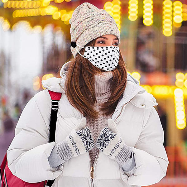 Knitted Elastic Warm Winter Beanies With Buttons For Face Masks