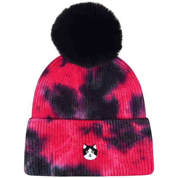 Cat Lover Faux Fur Pompom Knit Beanie