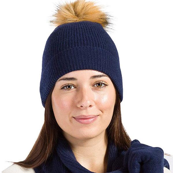 Pom Beanie Hat Glove & Scarf Set