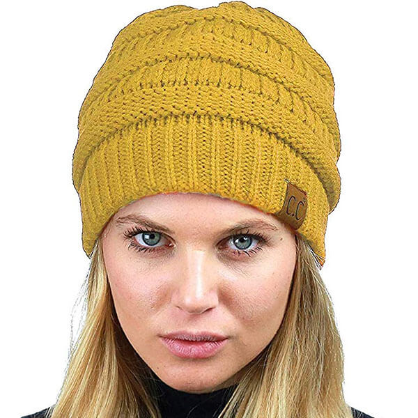 Soft Stretchable Warm Cable Knit With Fuzzy Lined Beanie