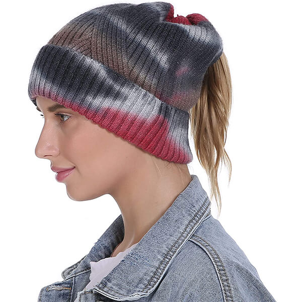 Knitted Soft Tie Dye Beanie With Ponytail Cutout