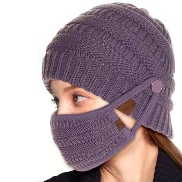 Knitted Warm Beanie With Buttons And Face Mask