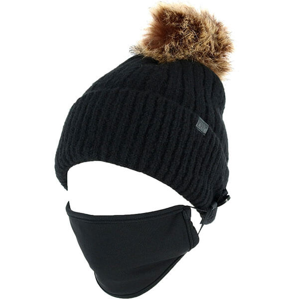 Cuffed Style Beanie With Buttons And Detachable Face Mask