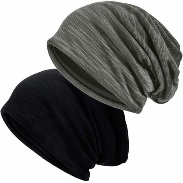 Slouchy Chic Striped Thin Beanie Hats For Summer