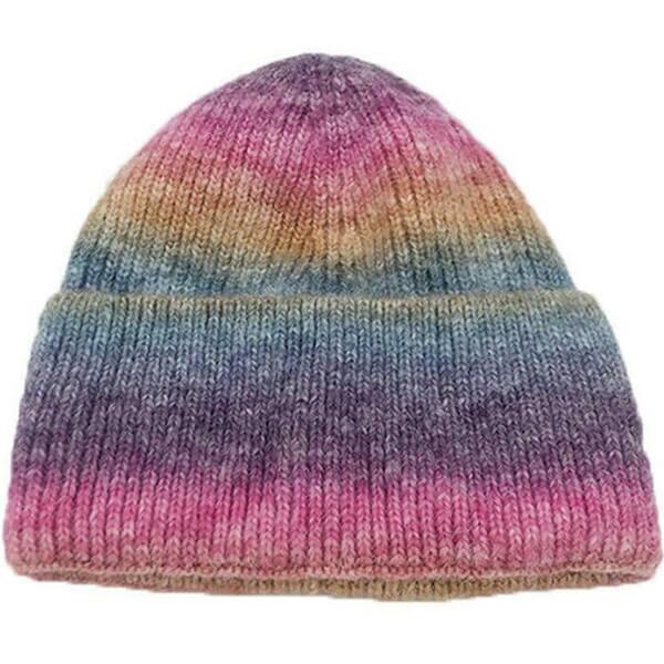 Faux Wool Rainbow Gradient Tie Dye Beanie
