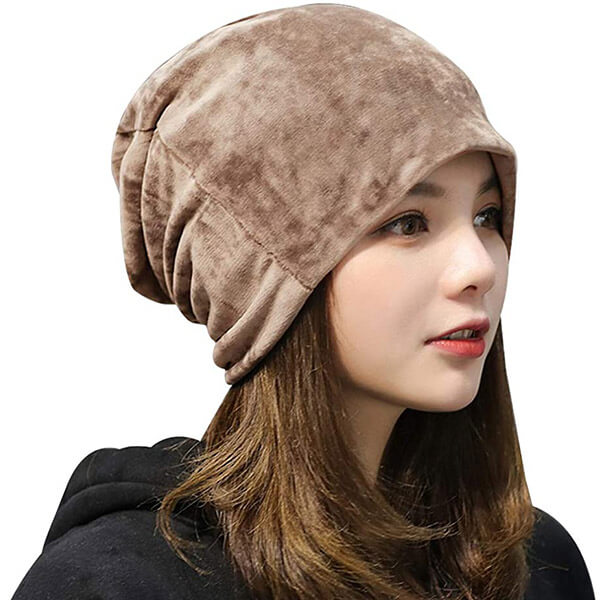 Women's Warm Winter Solid Color Slouchy Velvet Beanie Cap