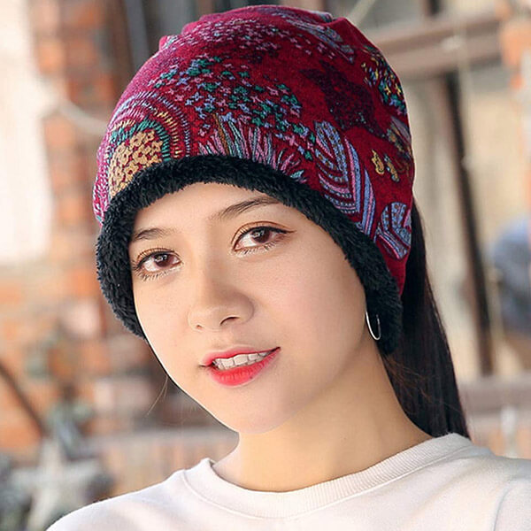 Velvet Beanie For Women With Cashmere Fashion Painting
