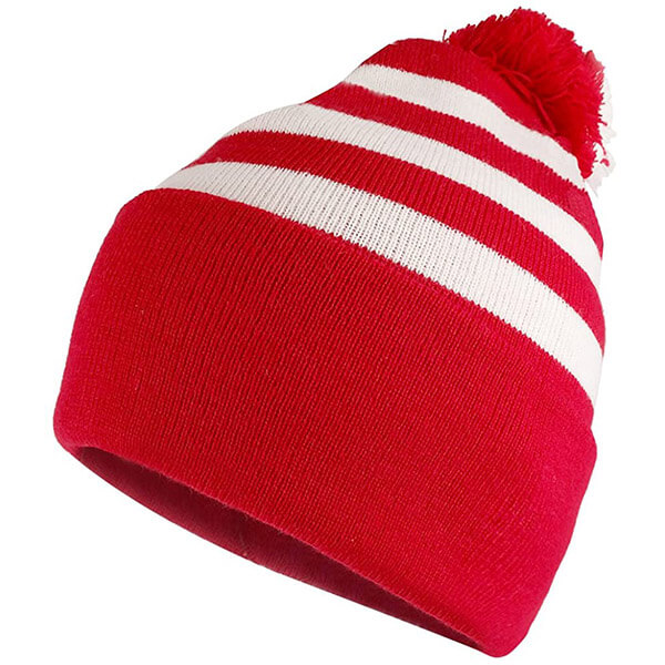 Striped Red And White Cuffed Beanie Hat
