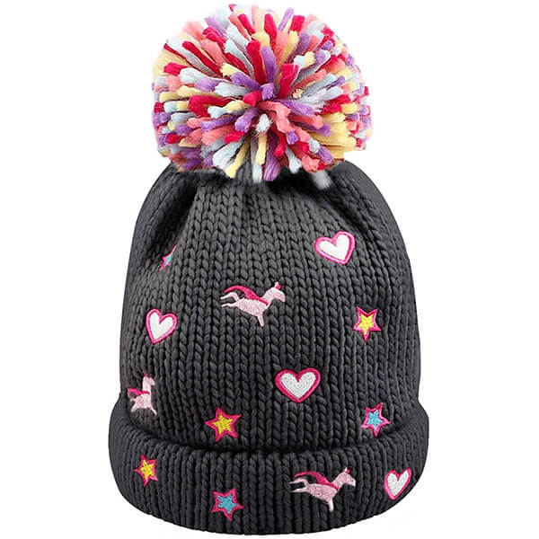 Warm Fleece Lined Pompom Unicorn Beanie Hats