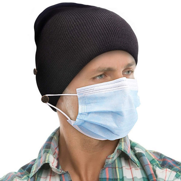 Watch Hat Style Beanie With Buttons For Face Mask