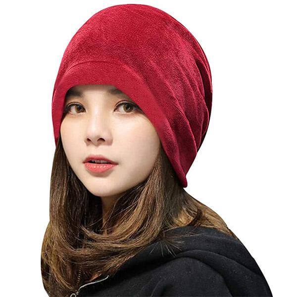 Women's Fashionable Winter Warm Soft Velvet Beanie for Outdoors