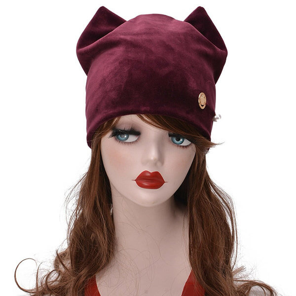 Adorable Unique Velvet Beanie For Women With Cat Ears