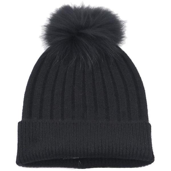Fox Fur Pom-Pom Hat