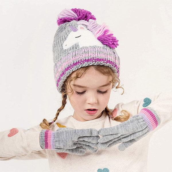 Novelty Colorful Knit Unicorn Pony Beanie Hat