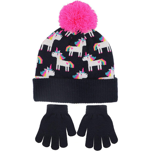 Winter Unicorn Beanie Hat And Gloves Set With Pompom