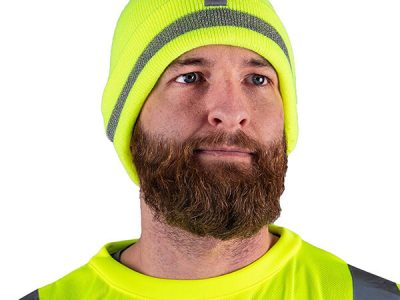 Basic style neon safety reflective beanie for dark weathers