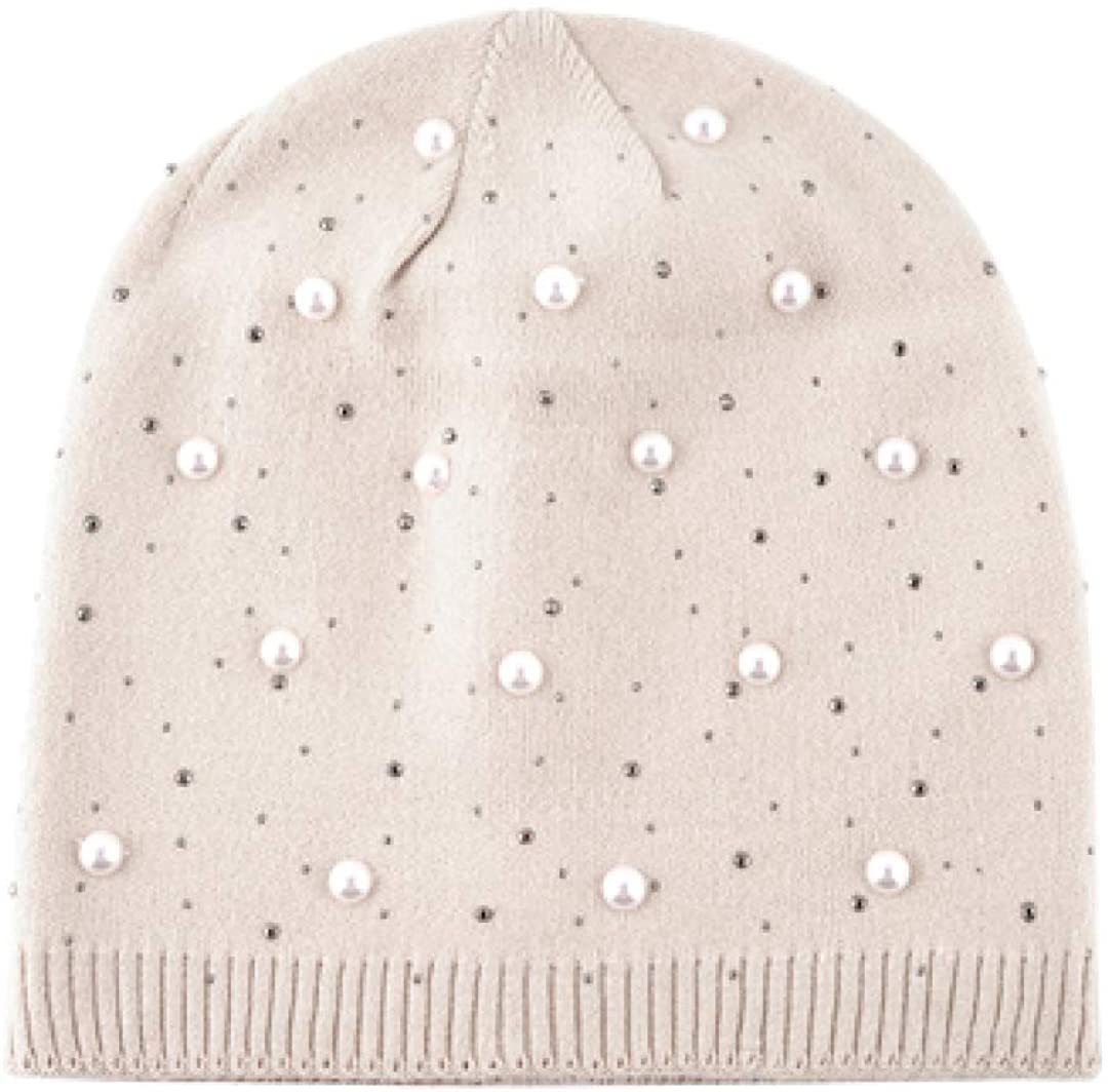 Beige Knitted Pearl Beanie Hat for Women