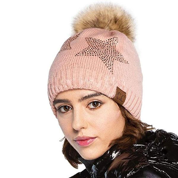 Fluffy pom-pom star beanie hat