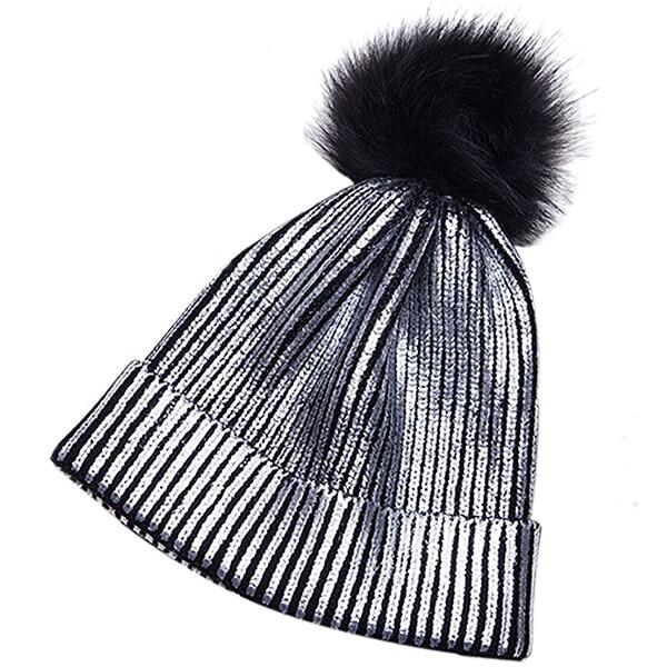 Metallic Beanie Hat with Pom-Pom