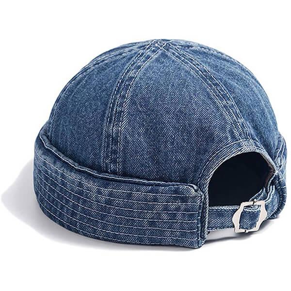 Modern, denim blue strap back beanie for unisex