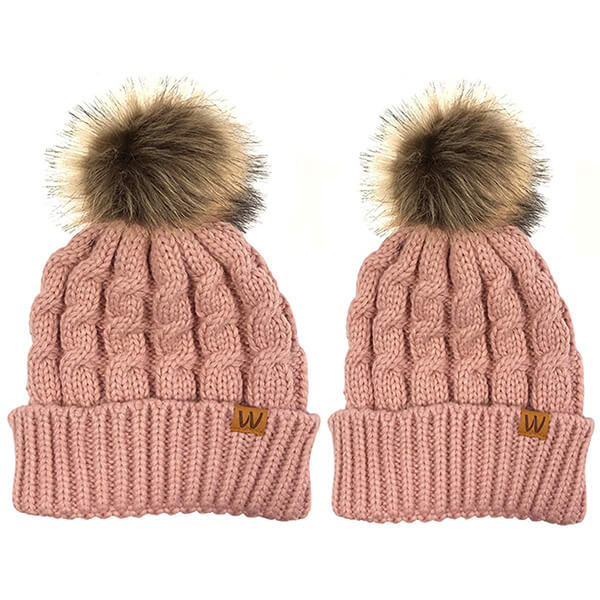 Pink soft pom-pom mommy and me beanies