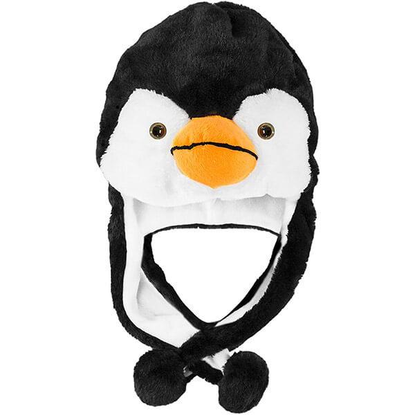 Plush Black and White Penguin Beanie