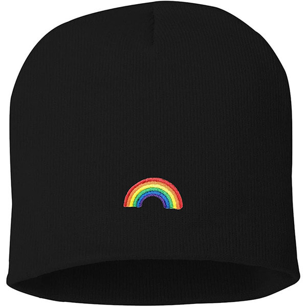 Rainbow Embroidered Unisex Knit Beanie Cap for Adults