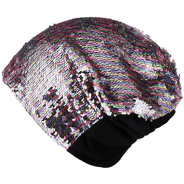 Sassy style grey sequin beanie for women