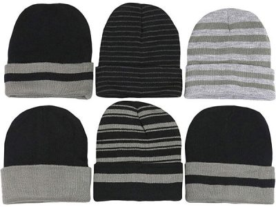 Soft and stretchy unisex striped beanie set