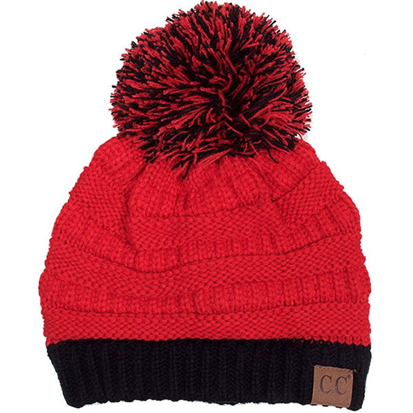 Vibrant Red Black Pom Pom Beanie for Winter