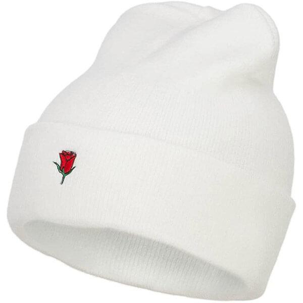White rose beanie with cuff
