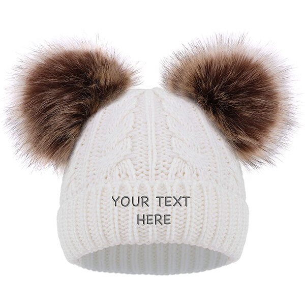 Adorable Double Pom pom Embroidery Beanie for Kids