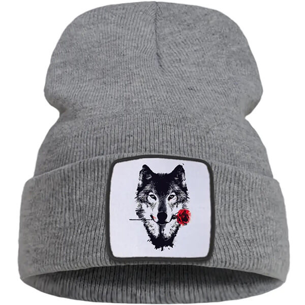 Affordable Cotton Wolf Beanie Hats for Adults