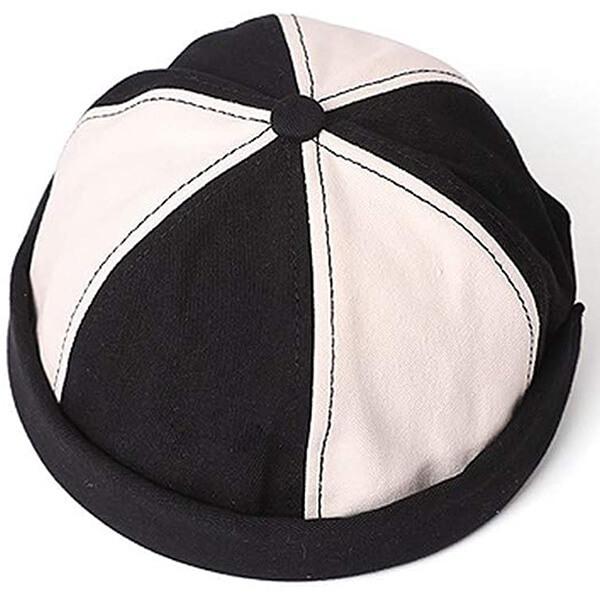 Black-white strap back beanie