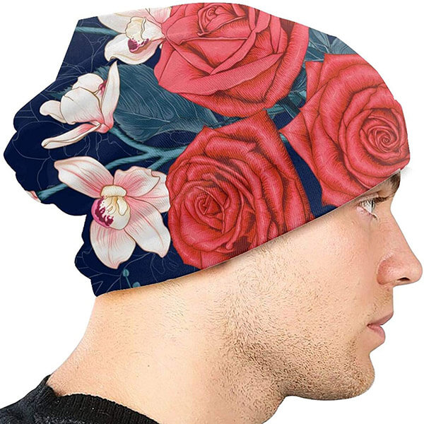 Cream colored floral print beanie for unisex
