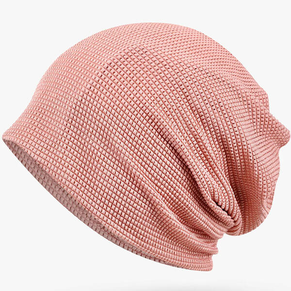 Elegant pink slouchy cuffless beanies for girls