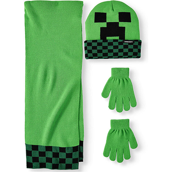 Highly Recommended Minecraft Beanie With Scarf and Gloves