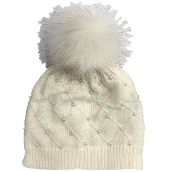 Ivory Pearl Beanie Hat with Pom Pom
