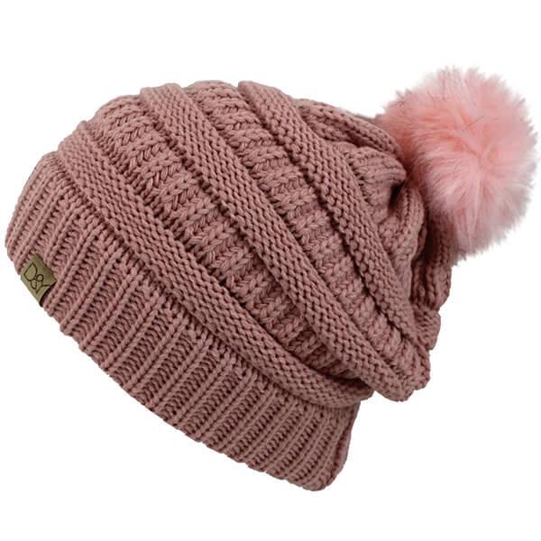 Pink Fluffy Pom-pom Ribbed Beanie