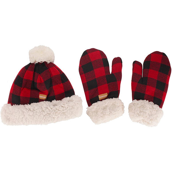 Red and black checkered beanie with mittens